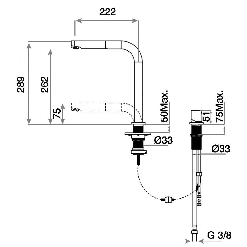 Кухненски смесител с керамична глава TEKA AUK 983 Underwindow