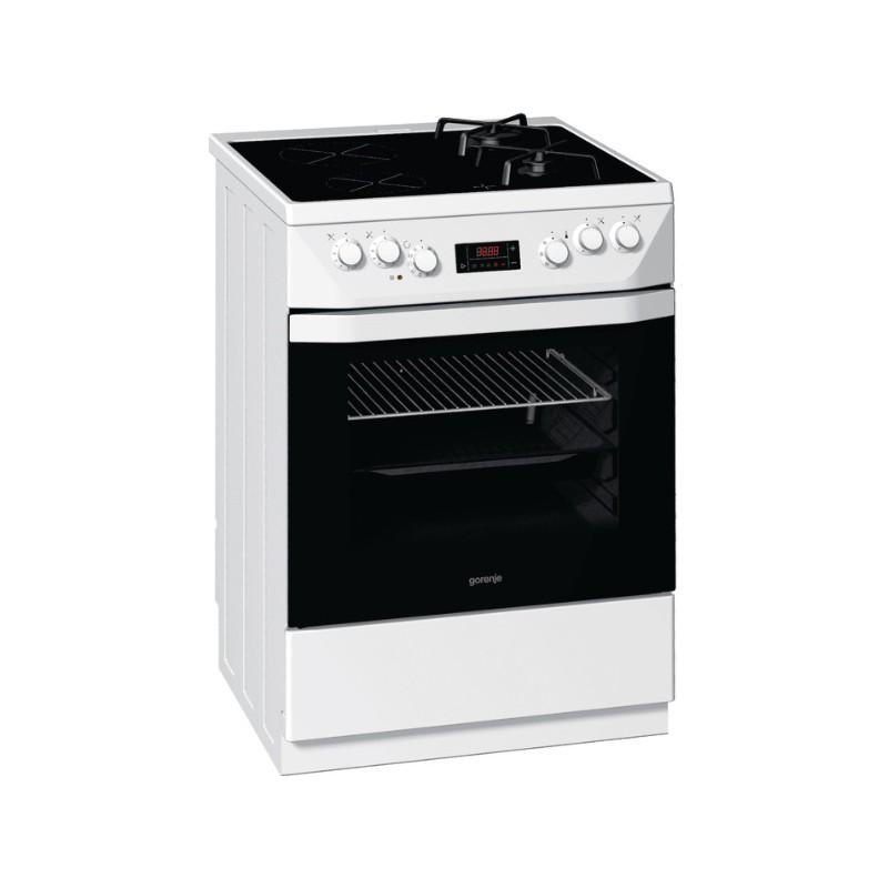 Стъклокерамична готварска печка на газ и ток Gorenje KC67337BW