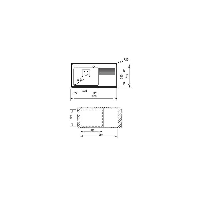 Мивка за вграждане Teka Frame 1C 1E Plus