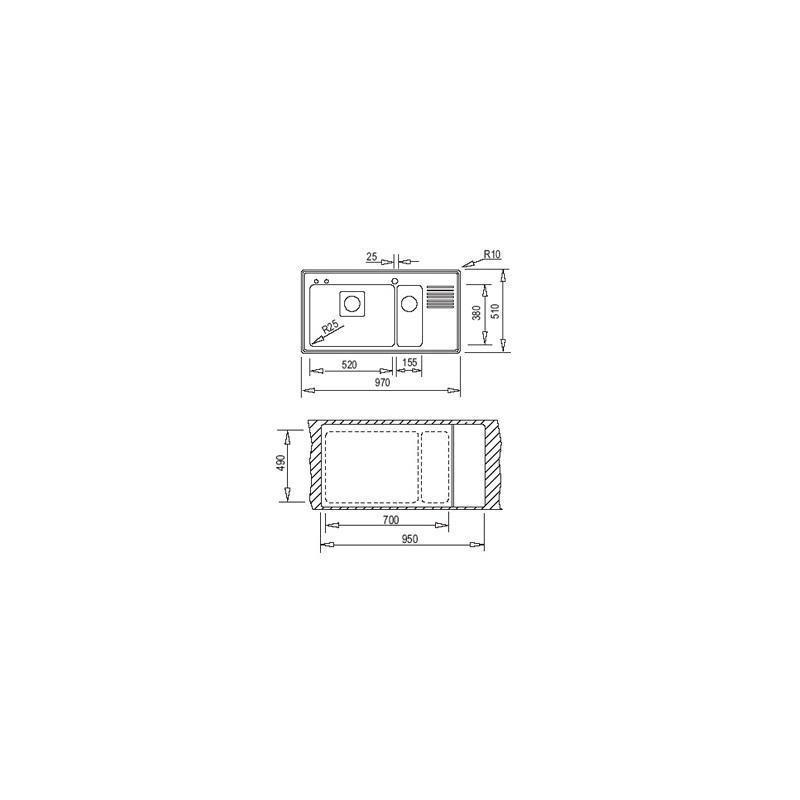 Мивка за вграждане Teka Frame 1 1/2C 1/2E Plus