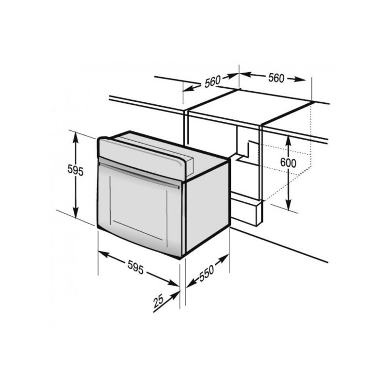 Фурна за вграждане с дизайн бяло и графит, 66л, Hansa BOEW 64190055
