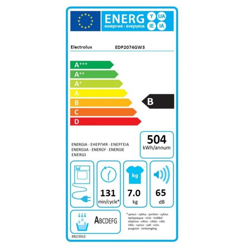 Сушилня Electrolux EDP2074GW3, 7 кг, отложен старт
