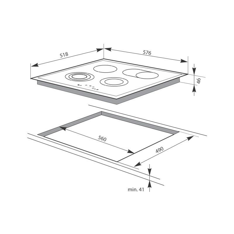 Плот за вграждане с 4 Нагревателни зони и таймер Hansa BHC63906