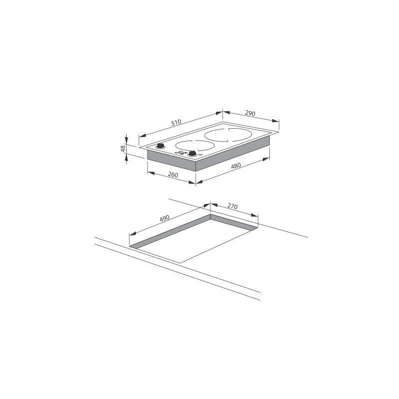 Плот за вграждане с 2 нагревателни зони, Енергиен клас: А, Hansa BHCI 35133030