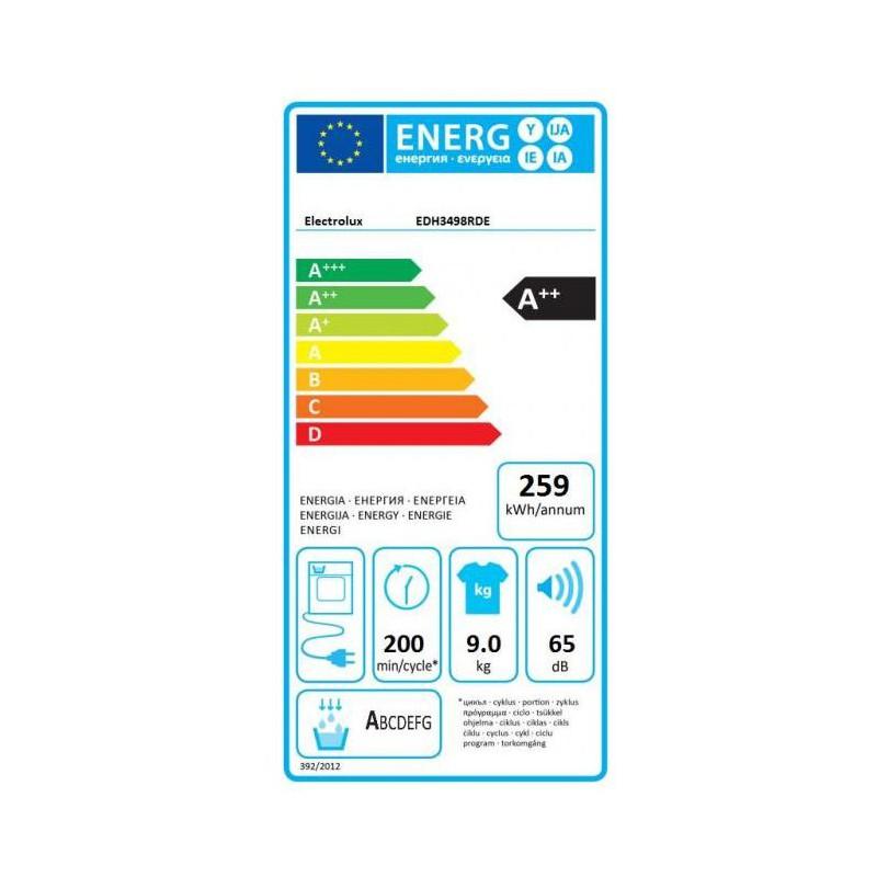 Сушилня Electrolux EDH3498RDE, 9 кг, клас А++, отложен старт