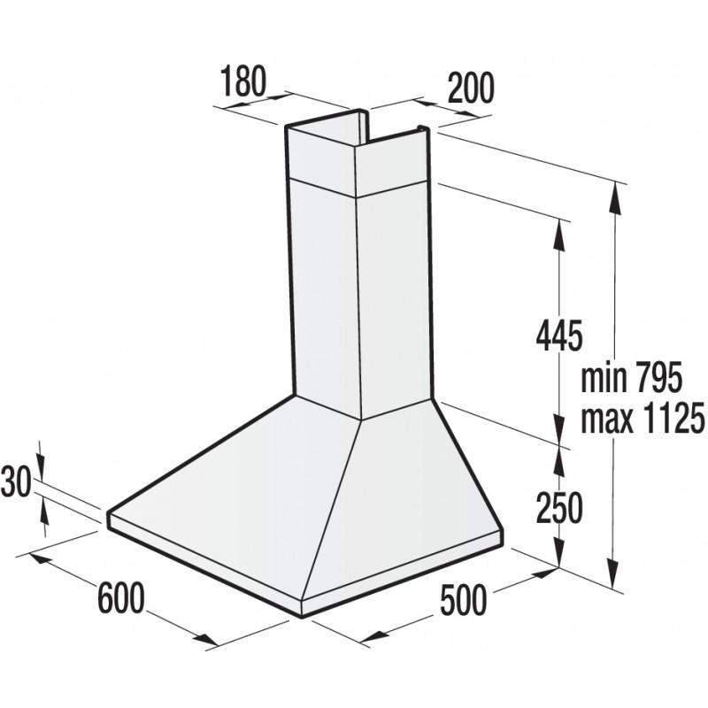 Стенен тип аспиратор, 60см, Gorenje WHC623E16X