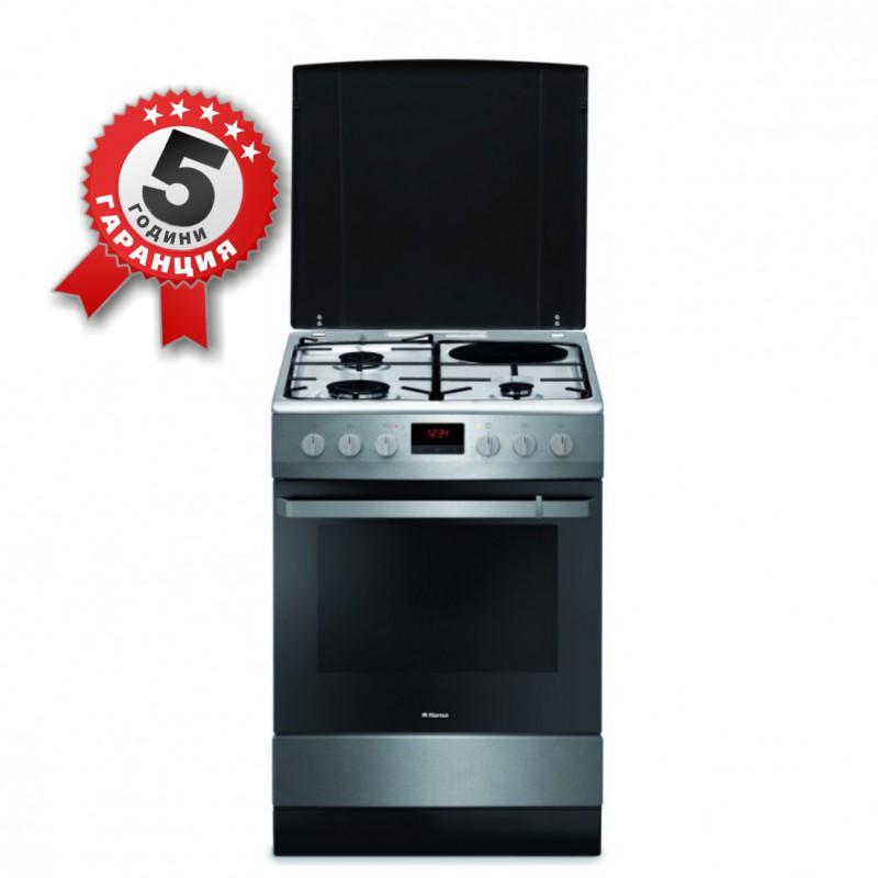 Комбинирана готварска печка на газ и ток, Hansa FCMX68209, 60см, инокс