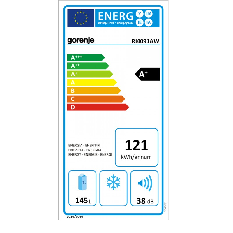 Хладилник за вграждане, Енергиен клас A+, обем 145л, Gorenje RI4091AW