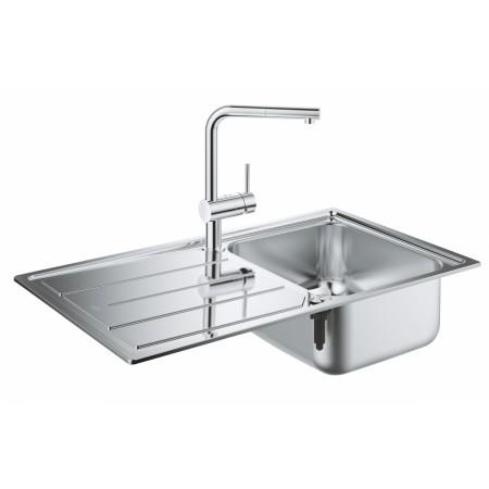 Комплект кухненска мивка Grohe K400 и смесител Grohe Minta с изтеглящ се аератор