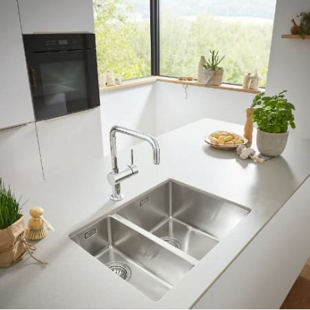 Кухненска двойна мивка монтаж под плот, неръждаема стомана GROHE K700  31575SD0