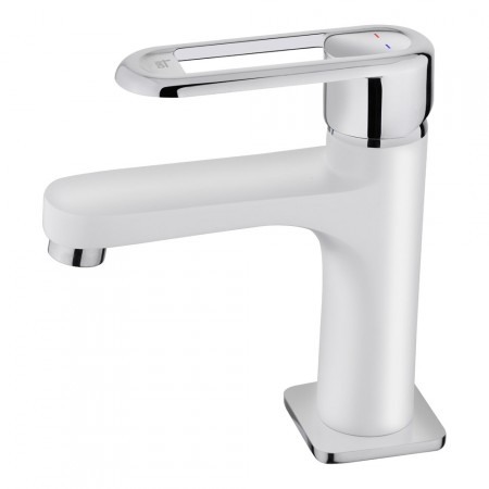 Смесител за баня с керамична глава NEXOS за мивка, нисък, бял