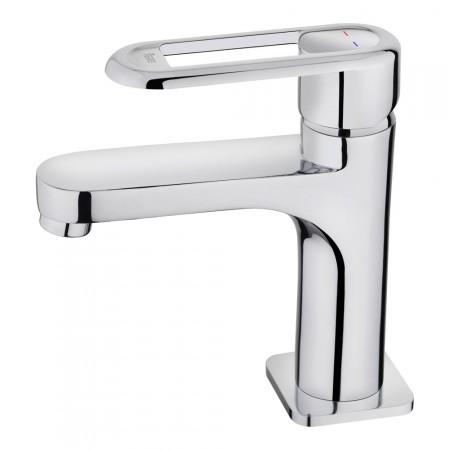 Смесител за баня с керамична глава NEXOS за мивка, нисък, хром